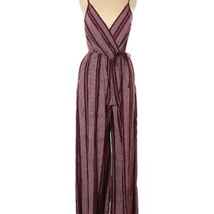 Band of Gypsies Burgundy Striped Jumpsuit